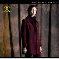 玄太-摩登翻領雙口袋造型大衣外套(紅)
