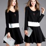 【麗質達人中大碼】7579黑白拼色假二件洋裝(L-5XL)