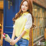 女裝蕾絲鏤空拼接袖OL韓風長袖襯衫LIYO理優E735017