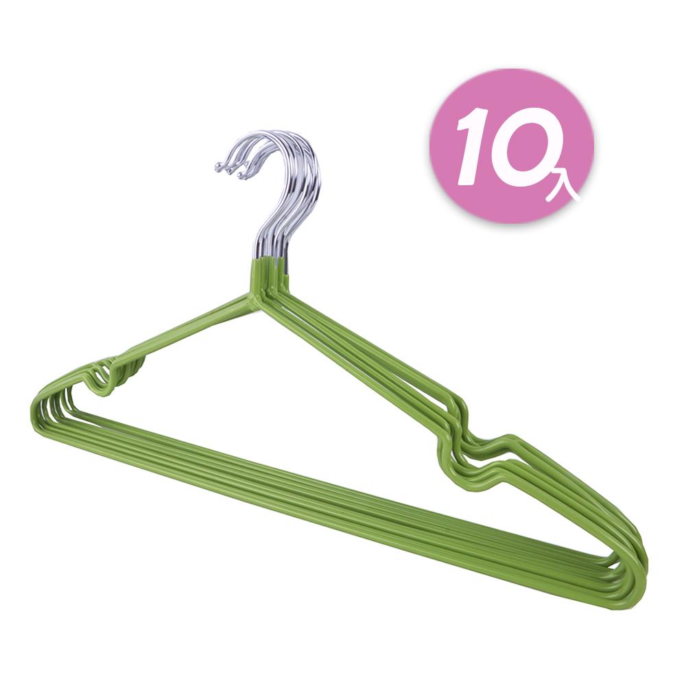 不鏽鋼乾濕兩用防滑衣架10入 綠色