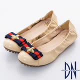 DN典雅輕熟  金屬蜜蜂蝴蝶結柔軟平底鞋    卡其