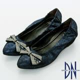 DN優雅名媛  浪漫蝴蝶結鑽飾尖頭內增高鞋    藍