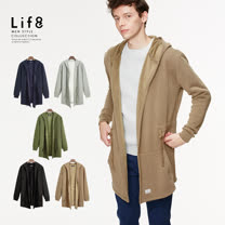 【Life8】Casual 柔棉刷毛 輕量長絨長版外套-03982-淺咖啡
