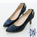 DN浪漫甜心  優雅蝴蝶結鑽飾尖頭高跟鞋    藍