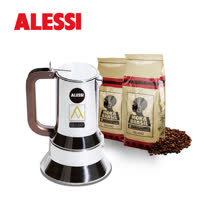 【飛捷義大利生活館】李查沙伯咖啡壺(6杯)+MOKA咖啡豆2包