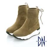 DN甜美暖冬  俏皮柔軟彈力絨拼接中筒靴    卡其