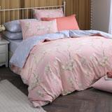 MONTAGUT-木棉花的歌謠(粉)-100%純棉兩用被床包組(加大)+贈1被1毯