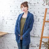 【Tiara Tiara】激安 翻領排釦羅紋針織罩衫外套(天藍)
