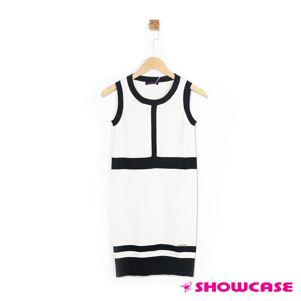 【SHOWCASE】配色削肩針織洋裝(白色)