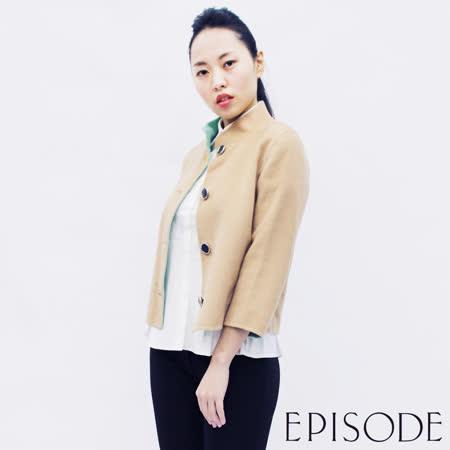EPISODE - Double Face雙面設計排釦羊毛外套(綠褐)