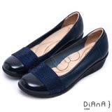 DIANA 漫步雲端蝴蝶結款--璀璨耀眼真皮楔型鞋-藍