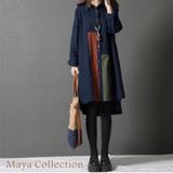 【Maya Collection】M~XL清新翻領拼布長版衫2色-20171211-1