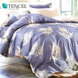AGAPE亞加•貝《獨家私花-韻味之葉》吸濕排汗法式天絲雙人加大6尺四件式兩用被套床包組