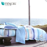 AGAPE亞加‧貝《獨家私花-青春之遙》吸濕排汗法式天絲雙人特大6x7尺四件式兩用被套床包組