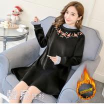 【韓系女衫】M~3XL毛絨絨假二件式韓式連衣裙20171215-2