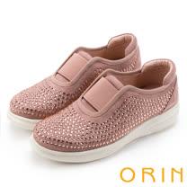ORIN 休閒時尚風 閃耀魅力燙鑽厚底休閒鞋-粉紅