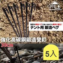 【5支組】強化高碳鋼鍛造營釘-30公分(FL-026)