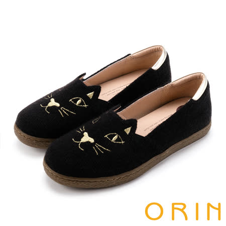 ORIN 俏麗女孩 趣味貓咪甜美平底便鞋-黑色
