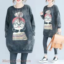 【Maya Collection】寬版古時尚大耳環女孩印圖刷綿長版長袖上衣20171218-4