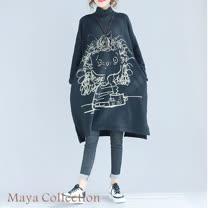 【Maya Collection】寬版古時q毛妹印圖刷綿長版長袖上衣20171218-5
