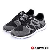 【AIRWALK】流線編織休閒運動鞋-女款(黑色)