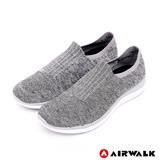 【AIRWALK】流線美學編織襪感休閒鞋-女(淺麻灰)