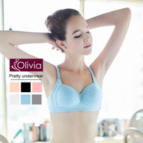 【Olivia】無鋼圈舒棉舒適透氣無痕內衣-淺藍