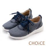 CHOiCE 中性休閒 牛仔布拼接牛皮綁帶休閒鞋-藍色