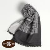 【岱妮蠶絲】純蠶絲保暖刷毛圍巾(灰)