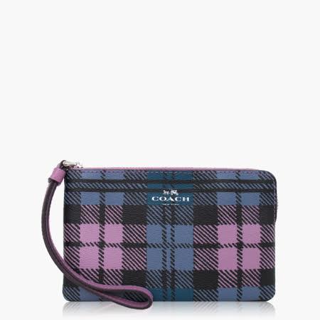 COACH 攜帶便利 皮革 / 零錢收納 / 手拿包(小款)_紫藍格紋