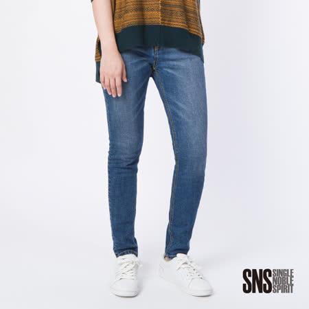 SNS 自由空間彈力顯瘦窄管牛仔褲(1色)