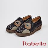 itabella.甜美可愛-貓頭鷹造型牛皮包鞋(7572-90黑)