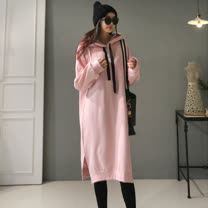 【CosmoPINK 粉紅教主】正韓空運一件式休閒連帽內刷毛保暖洋裝