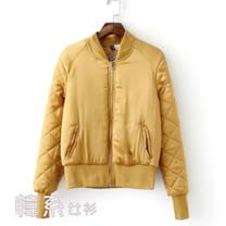 【韓系女衫】M~L金絲面料帥氣短版夾綿外套-姜黃色