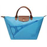 LONGCHAMP 巴黎鐵塔紀念款拉鍊摺疊短把購物包(中-蔚藍色)