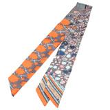 HERMES Tapis Persans系列繽紛花朵Twilly幾何絲巾領結(橘X松石綠-一組兩條)