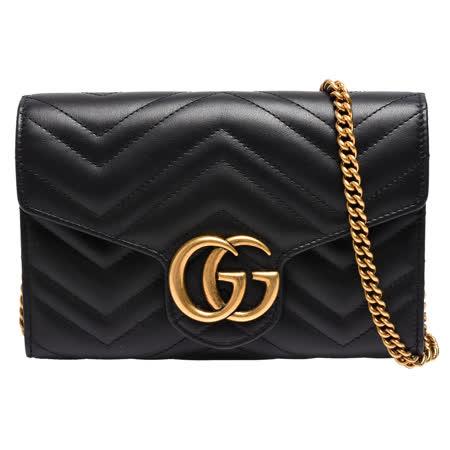 GUCCI GG Marmont系列仿旧金色双G LOGO 山字车纹牛皮釦式手拿/斜背包(黑)