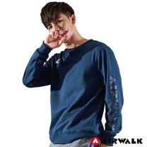 【AIRWALK】男款圓領大學T-深藍色