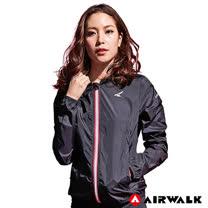 【AIRWALK】女款連帽風衣外套-黑色