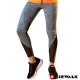 【AIRWALK】女款拼接緊身長褲-中灰色