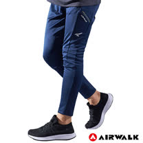 【AIRWALK】男款剪接運動長褲-丈青色