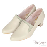 BONJOUR☆3D立體包覆4cm萊卡尖頭低跟鞋Made in Taiwan【ZB0309】杏