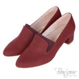 BONJOUR☆3D立體包覆4cm萊卡尖頭低跟鞋Made in Taiwan【ZB0309】紅