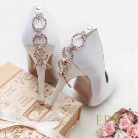 現貨 MIT圓頭高跟鞋推薦品牌手工婚鞋 愛之戒 內增高羊皮高跟鞋 21-25.5 EPRIS艾佩絲-浪漫白