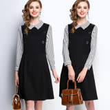 【麗質達人】5236黑白條紋拼接假二件洋裝(L-5XL)
