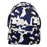 agnes b. SPORT b 閃電幾何拼接圖形後背包(藍白)