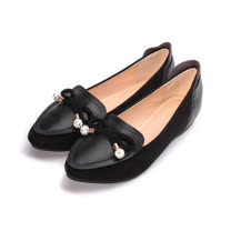 (女) RIN RIN 小圓鑽尖頭平底鞋 黑 女鞋 鞋全家福