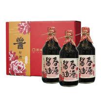 【豆油伯】 春源純釀黑豆醬油牡丹3入伴手禮盒