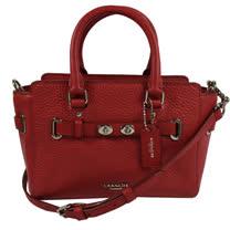 COACH SWAGGER質感皮革旋釦飾條迷你兩用包.紅
