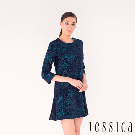 JESSICA - 藝感花語側邊百褶設計洋裝(藍)